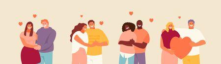 Loving hugging couples set. Valentine day vector illustration Ilustración de vector