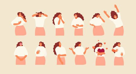 Set girl character with different emotions and gestures. Vector illustration Vettoriali