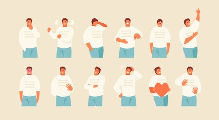 Set Male character with different emotions and gestures. Vector illustration