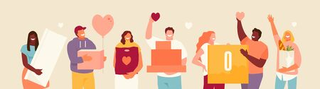 Volunteers group with donations in their hands. Vector illustration