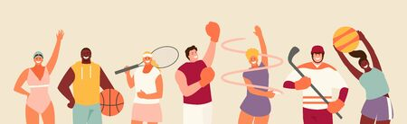 Sports People Group. Basketball and volleyball, swimming, tennis, hockey, rhythmic gymnastics and boxing vector set Illustration