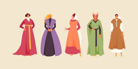 Group of Medieval women in historical costumes. Vector characters