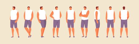 Standing guy in different positions view from the side, front and back. Vector character template