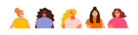 Group of Girl user avatars on a white background. Vector characters 矢量图像