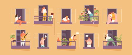 People in windows and balconies staying at home. Home life and neighborhood. Vector illustration