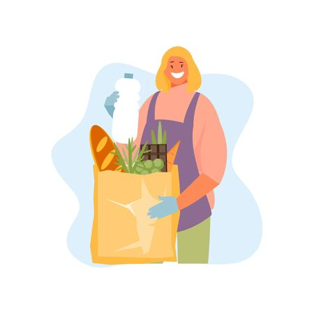 Woman grocery store employee collected food delivery order. Vector illustration