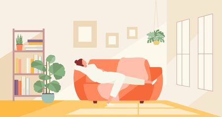 Resting girl lying on the couch. Home life vector illustration