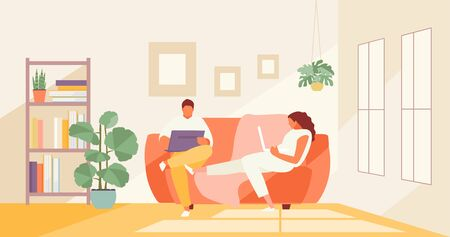 People couple people work at home. Remote work and freelance vector illustration 矢量图像