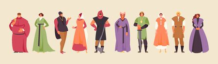 Medieval cartoon people in historical costumes. Royal characters vector set