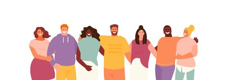 Group of hugging multiethnic people. Friendship and Youth Vector Characters 矢量图像