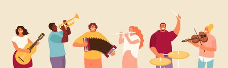 People group playing various musical instruments. Concert and festival vector illustration 矢量图像
