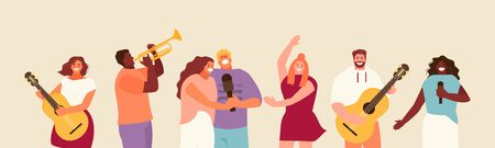 People music group sing, dance and play the guitar. Music party festival vector