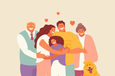 Happy hugging family parents and children. Love and support vector illustration