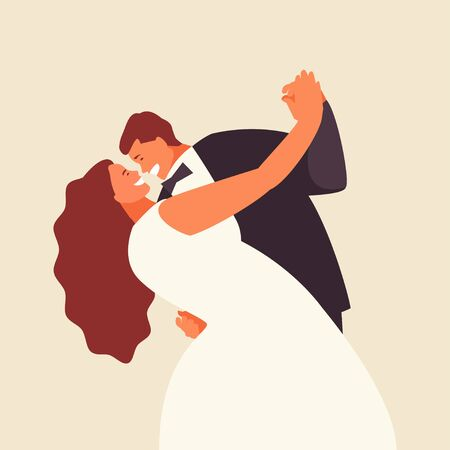 Dancing bride and groom. Happy newlyweds wedding vector illustration