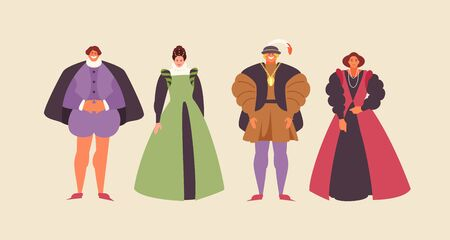 People group renaissance in traditional costumes. Vector characters illustration