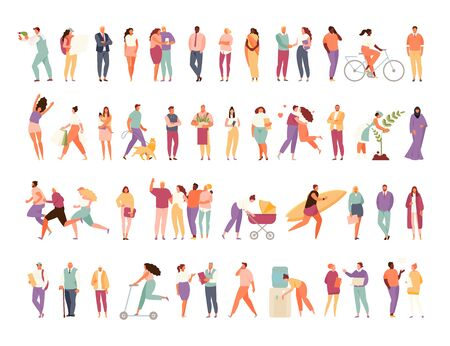Big set of a group of people with different activity. Family and friendship, work and leisure. Vector characters isolated on a white background 矢量图像