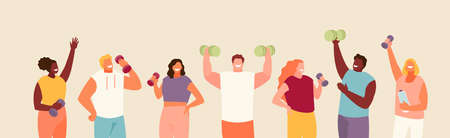 People group with dumbbells in hands. Strength Training Fitness Vector Characters