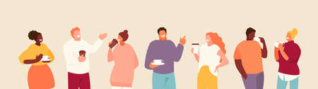 People group colleagues, friends drinking coffee. Break at work and communication vector illustration