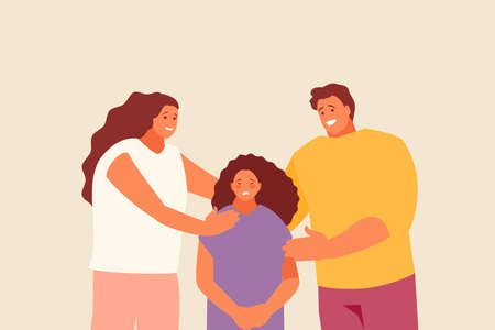 Parents mother and father supporting their upset child. Family and support vector illustration Illusztráció