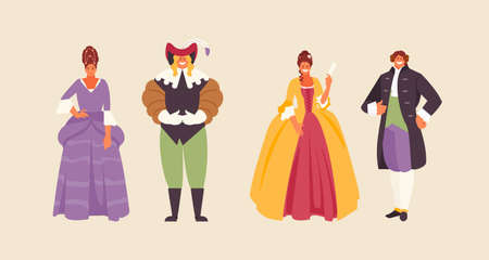 People group in historical costumes of the 17th and 18th century. Baroque and Rococo fashion vector illustration Vettoriali