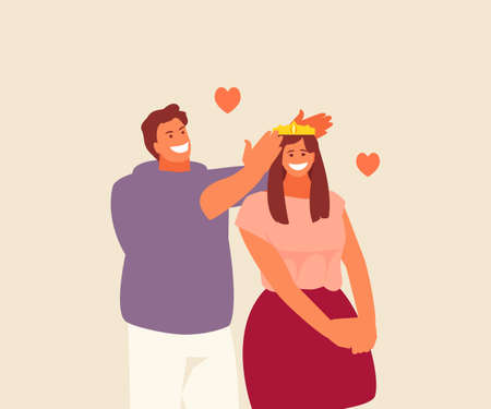 Loving couple man puts a crown on his woman vector illustration
