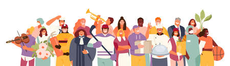 Crowd of people of different professions vector
