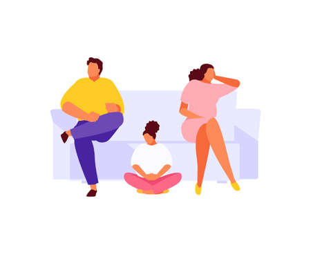 Indifferent parents unhappy family vector