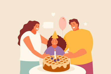 Girl with parents celebrate birthday
