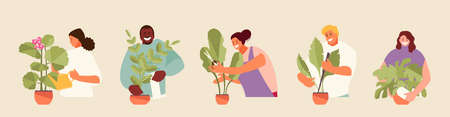 People caring for houseplants vector