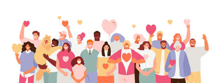 Group of people volunteers with hearts