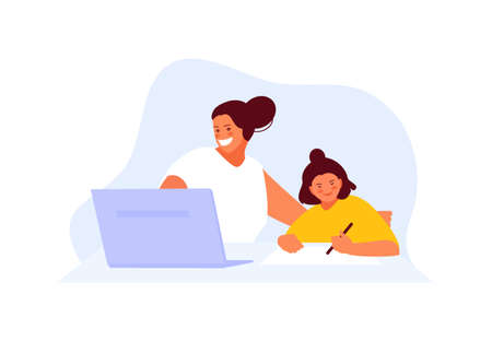 Mom freelancer works at home with a child