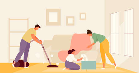 Family cleaning room together vector
