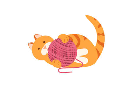 Playing cat with yarn vector 免版税图像 - 156676929