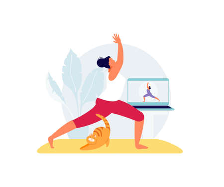 Girl doing yoga online vector 版權商用圖片 - 156676931