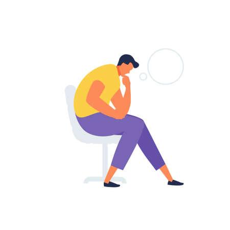 Sitting thinking man vector character 免版税图像 - 156676932