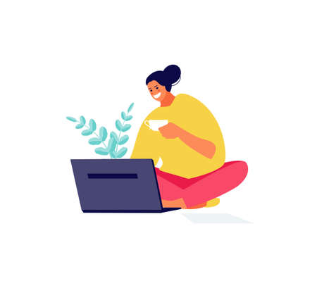 Freelance girl with laptop at home 矢量图像