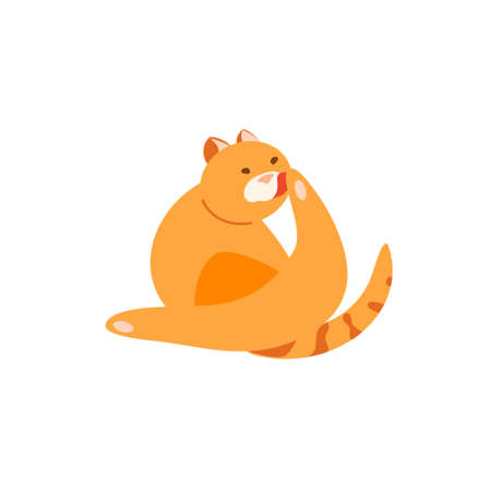 Cat washing itself vector character