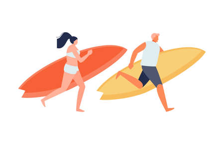 Girl and guy surfers vector