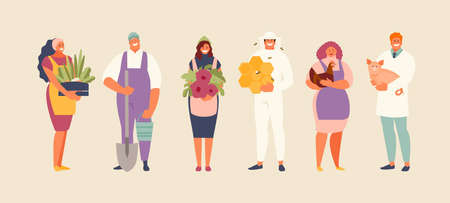 Agriculture occupations people vector set Stock Illustratie