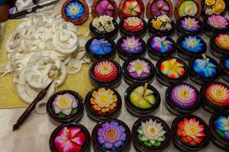 Handmade colorful craft flower soap.