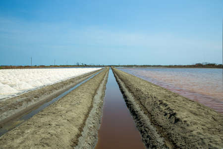 Ridge of the salt field on sunny day, country rural of thai people
