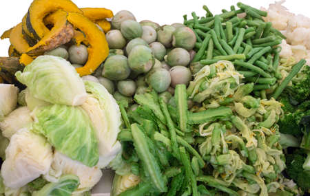 The mix vegetables boiled and green leaf and eating healthy and useful sell in the market
