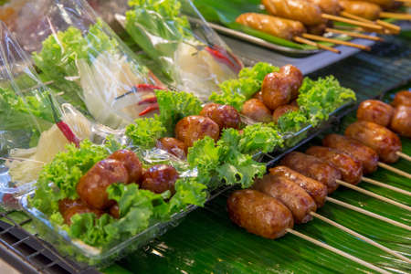 Scorched Thai Sausages Stuffed with rice and vermicelli noodle, make it a set.