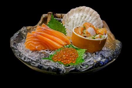 Hamachi Salmon Sashimi with shredded white radish. Stok Fotoğraf