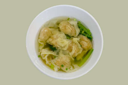 Chinese wonton dumpling in clear soup Imagens