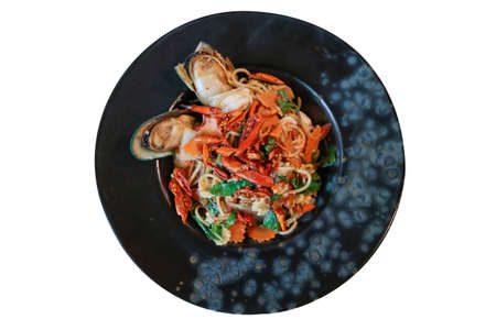 Spaghetti with Spicy Mixed Seafood with new zealand Mussels and prawn