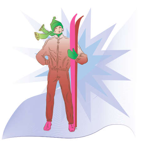 colorado rocky mountains: Girl with skis Illustration