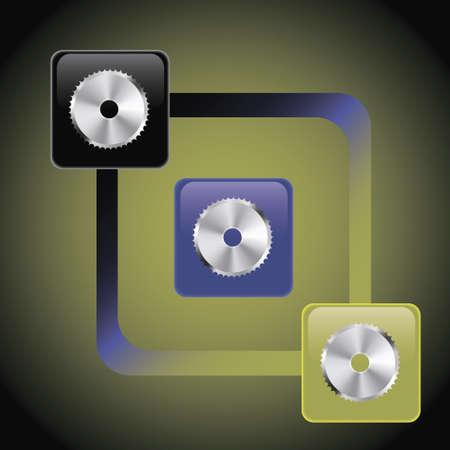 circular saw: button circular saw Illustration