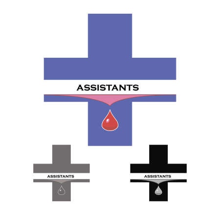 Sticker medical assistant or a donor gives blood