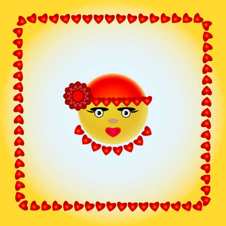 yellow smiley face with a flower Vector